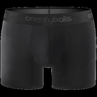 Comfyballs Underwear, Wood Pitch Black Long Boxershort. Handmade, exclusief ondergoed van modal - tencel